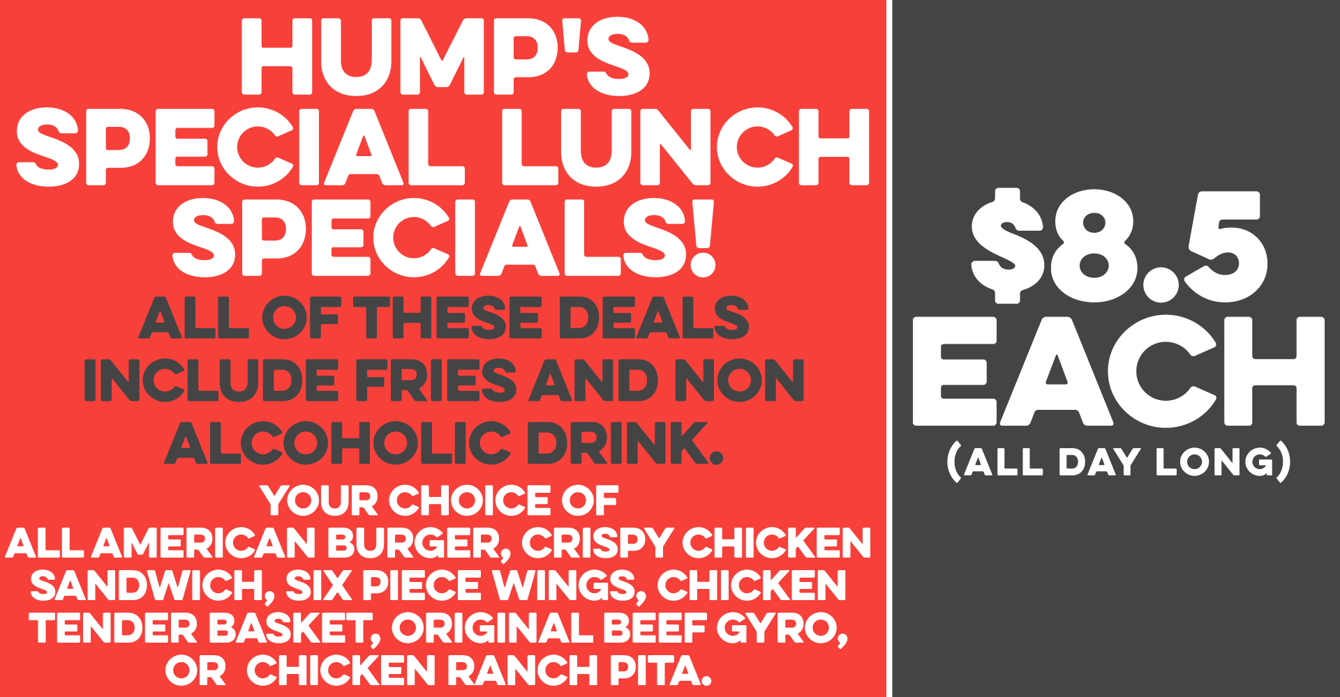 Lunch Specials Just $8.5
